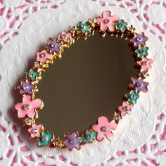 Mirror Cabochon with Pink Purple Green Flower and Clear Rhinestones (63mm x 44mm) Kawaii Big Cabochon DIY Cell phone Deco CAB002. $3.25, via Etsy.