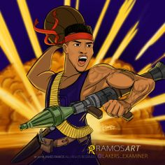 Los Angeles Lakers Fan Art,  Nick Young aka Swaggy P aka Swaggy Rambo! as envisioned by James Ramos/RAMOSart