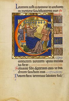Initial C: David Playing Bells, Master of the Ingeborg Psalter, French, probably Noyon, after 1205. Tempera colors and gold leaf on parchment, Ms. 66, c. 105v