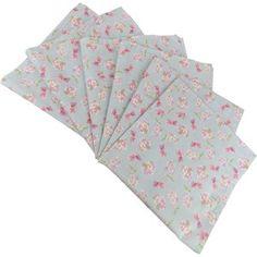 Guardanapo de Tecido Azul com Flores Pequenas 6 peças