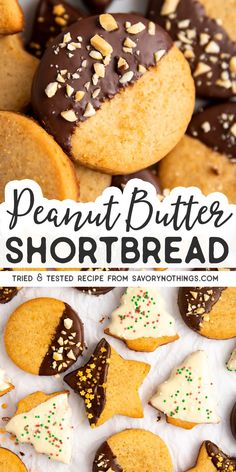 We make these peanut butter shortbread cookies every year for Christmas. I love that we dont need a mixer for these and that the dough required no chilling. So easy to make with the kids! Chocolate Chip Shortbread Cookies, Toffee Cookies, Spice Cookies, Yummy Cookies, Sugar Cookies, Homemade Cookies, Peanut Butter Recipes, Fudge Recipes, Cookie Recipes