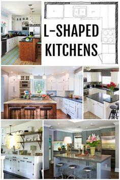KITCHEN DESIGN   L-Shaped Kitchen Layouts via Remodelaholic.com