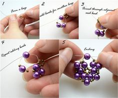 DIY Jewelry DIY Earrings : DIY Beaded Earrings - could make this for a brooch instead of earrings