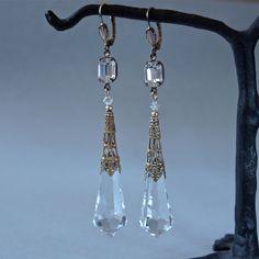 Long Art Deco Earrings Cut Crystal Prisms Vintage Czech Aiglettes and Swarovski Wedding Bridal Earrings. $72.00, via Etsy.