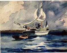 Sloop, Nassau by Winslow Homer  1899. #watercolor #winslowhomer