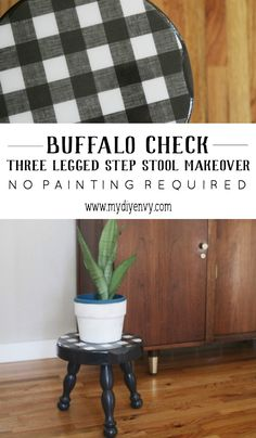Buffalo Check Three Legged Step Stool Makeover
