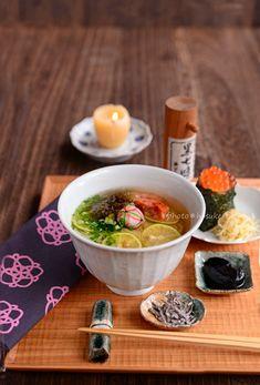 food presentation | 酢橘柔麺といくら結び (Sutachibana Yawaramen)