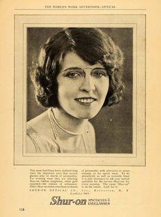 1924 Ad Shur-on Spectacles Eye Glasses Optical Portrait