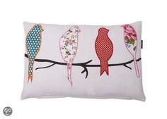 bol.com | In The Mood Sierkussen - Birds Applicated 30x45 cm - Ivoor | Wonen