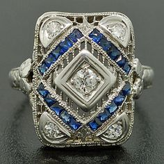 Edwardian 18kt White Gold Diamond & Sapphire Ring