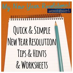 Yay! New Year Resolutions! This eBook accompanies and complements the New Year Resolution Download Set. It's some tips and hints about doing your resolution listing and matching worksheets to write everything out! Enjoy!