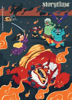 Momotaro the Peach Boy beats the Japanese oni in Storytime Issue 26! Art by Quang Phung Nguyen (https://www.behance.net/phungnguyenquang) ~ STORYTIMEMAGAZINE.COM