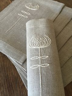 Linen Placemats Set of 6 Hand Embroidery Linen Table Linen Table Top Fabric…