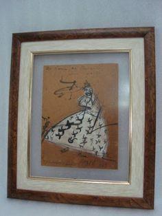 CARIBÉ desenho em eucatex datado de 1969 com dedicatória 15 x 20 cm.
