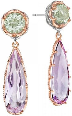 Tacori Color Medley  Dazzling elongated pear-shaped rose amethyst and round prasiolite 18k rose gold bold drop earrings .