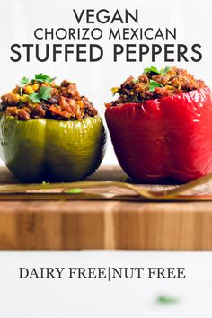 Vegan chorizo mexican stuffed peppers makes dinner fun and delicious! Perfect switch up if you love Mexican food, but don't want tacos or burritos! Vegan Stuffed Peppers, Mexican Stuffed Peppers, Homemade Tacos, Homemade Taco Seasoning, Kale Recipes, Mexican Food Recipes, Garlic Butter Rice, Vegan Chorizo, Vegan Burrito