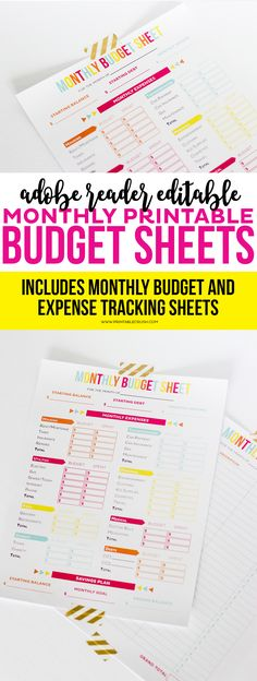 Editable Budget Worksheets : Get your finances in order with these Editable Printable Budget Sheets! Includes monthly budget and expense sheets so you can easily keep track of your money!
