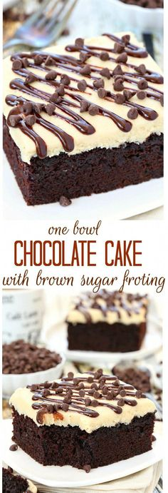 With just a handful of ingredients, this no fuss one bowl chocolate cake will quickly become one of your favorites! Top with a layer of brown sugar frosting or serve with a scoop of your favorite ice (Chocolate Bars Cake) Frosting Recipes, Cake Recipes, Dessert Recipes, Icing Recipe, Just Desserts, Delicious Desserts, Delicious Chocolate, Brown Sugar Frosting, Kolaci I Torte