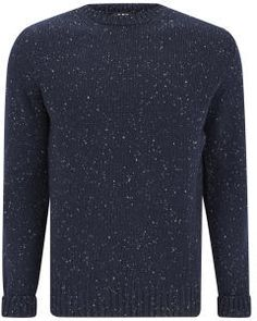 A.P.C. Men's 100% Superfine Donegal Wool Thick Round Neck Knit Noir