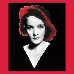 Marlene Dietrich Crochet Hat - Seductive Black and Red Merino - Movie Star Idol Series