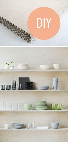Discover recipes, home ideas, style inspiration and other ideas to try. Plywood House, Plywood Shelves, Wall Shelves, Diy Shelving, Home Office Storage, Black Doors, Pinterest Diy, Kitchen Accessories, Kitchen Interior