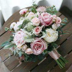 Blush Pink Artificial Rose & Peony Bridal Bouquet, Greenery Wedding Bouquet, Wedding Flowers Silk Bo