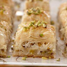 Coconut and Pistachio Baklava Recipe at Epicurious.com  I'd use Splenda in the first step and in the Syrup step;replace the sugar with Agava Nectar says www.jayniesworld.com