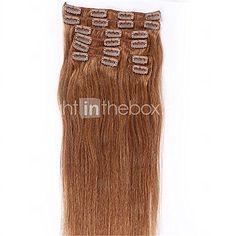 6 # ligeras clips de color rubio en brasileño recto de la máquina del pelo humano tramas hechas las extensiones del pelo de la cabeza - USD $88.35