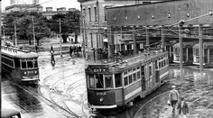 One of Adelaide's tram depots on Angas St,next to King William St in the 1940s.