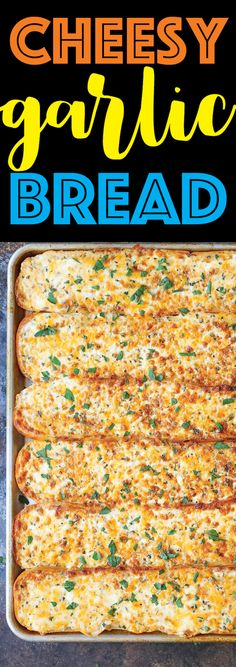 Cheesy Garlic Bread One bite of this and everyone will beg you to make this again and again! So cheesy so ooey gooey and so melt-in-your-mouth AH-MAZING! (more) The post Cheesy Garlic Bread appeared first on Damn Delicious. Bread Recipes, Chicken Recipes, Cooking Recipes, Cheap Meals, Easy Meals, Appetizer Recipes, Dinner Recipes, Appetizers, Cheesy Garlic Bread