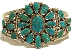 Old Pawn Navajo Turquoise Cluster Sterling Silver Cuff Bracelet -