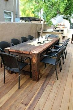 Image result for wood patio table iron chair