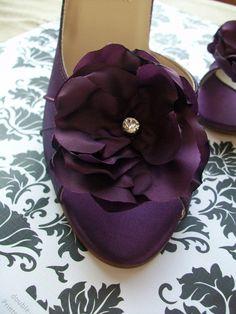 Wedding Shoes  Purple  Aubergine  Eggplant  Peep Toe by Parisxox, $144.00