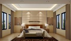 Soft glow of lights and neutral palette keep this bedroom serene - 5 Ways to Achieve a Serene and Restful Master Bedroom