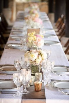 #tablescapes  Photography: Caroline + Ben Photography - carolineplusben.com Floral Design: Rosehip Flora - rosehipflora.com Wedding Day Coordination: Circle the Date Events - circlethedateevents.com  Read More: http://stylemepretty.com/2012/06/27/hill-country-wedding-at-camp-lucy-by-caroline-ben-photography/