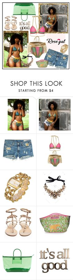 """Rosegal Graphic Bikini Set"" by carola-corana ❤ liked on Polyvore featuring rag & bone, Valentino, Stephanie Johnson and Letter2Word"