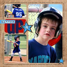 Design by Kim Crothers Kim used a digital page template to create an easy baseball scrapbook page. She opened the template, dragged in her background paper and photos, and finished the page with journaling, embellishments, and a title. Editor's Tip: Can't find an exact template to suit your needs? Alter one. Kim combined two spaces at the bottom left of her scrapbook page to accommodate a vertical photo. SOURCES: Software: Adobe Photoshop CS2. Font: Arial. Digital elements: Quick Fill…