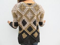 Crochet Granny Square Women Sweaters One of a kind. https://www.etsy.com/shop/KrissWool?section_id=18868005&ref=hdr_shop_menu ▉ ▉SHIPPING IT WILL BE SHIPPED WITH COURIER - THREE DELIVERY WORKING DAYS FROM ITALY - PLEASE LEAVE IN ORDER YOUR PHONE NUMBER FOR DELIVERY AND CORRECT ADDRESS NOT P.O.Box Convo me before purchasing if your country is not listed for shipping ❤️DESCRIPTION Unique an EXCLUSIVE DESIGN and HANDMADE WITHOUT PATTERN by KrissWool-- Elega...