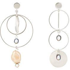 Mounser Women's Corona Asymmetric Earrings ($175) ❤ liked on Polyvore featuring jewelry, earrings, silver, dangle earrings, post earrings, iridescent earrings, flat earrings and pearl jewellery