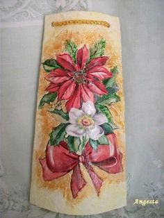 Poinsettia (decoupage) by semeistvoadams.blogspot.com