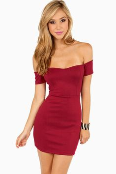 Burgundy Off My Shoulders Mini Dress at $48