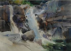 Dale Laitinen | Secret Falls, Yosemite-Watercolor-22 x 30 | Petroglyphe Gallery ...