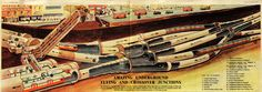 """Cutaway of Camden Town Tube Station by Leslie Ashwell Wood, published in Eagle Vol 1 No 27 (13 October 1950) as """"Amazing Underground Flying and Crossover Junction"""""""
