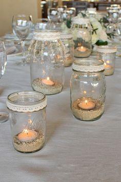Vyrobte si originálne a praktické dekorácie so sklenených zaváracích pohárov - sikovnik.sk Jar Centerpieces, Wedding Centerpieces, Wedding Table, Wedding Decorations, Table Decorations, Mason Jar Crafts, Bottle Crafts, Mason Jars, Diy Candles