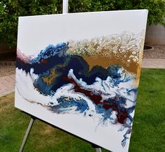 Navy Fluid Abstract Art Navy Burgundy Painting Blue -Fluid acrylic painting - Original painting on Canvas - #fluidart #originalpainting #acrylicpainting