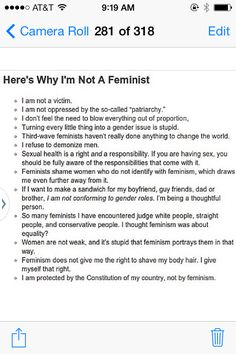 "Pinned by a ""Proud Anti-Feminist"" and it's got it all: privilege, willful ignorance, self-loathing, reductionism...unbelievable!"