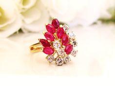 Vintage Italian Diamond & Ruby Ring by LadyRoseVintageJewel