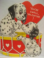 Vintage Valentine Card Dalmatian Dalmation Puppy Dogs Drum You're Swell UNUSED