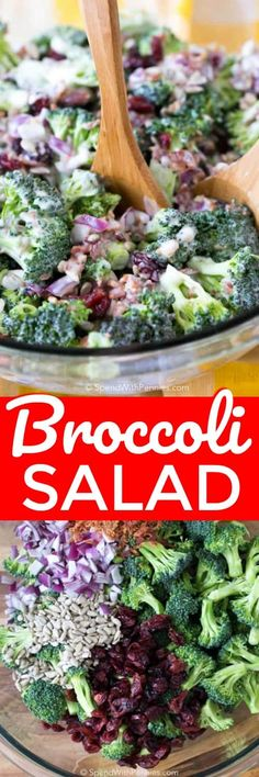 Broccoli salad is the fun summer salad recipe that you didn't know you were missing! Fresh and colorful broccoli, dried cranberries, sunflower seeds, and bacon bits are tossed in a creamy homemade dressing to give you a dish that will be raved about by everyone one long after its gone! #spendwithpennies #summersalad #easyrecipe #simplerecipe #withcranberries #healthyrecipe #healthyrecipe #creamydressing #homemadedressing