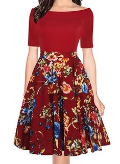 oxiuly Women's Vintage Off Shoulder Pockets Casual Floral A-Line Party Dress OX232 at Amazon Women's Clothing store: